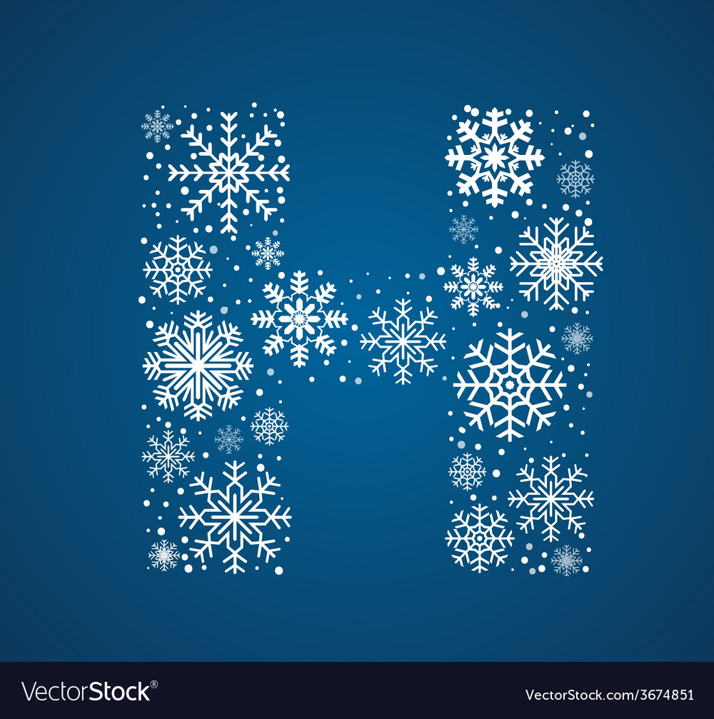 Letter h font frosty snowflakes vector | Price: 1 Credit (USD $1)