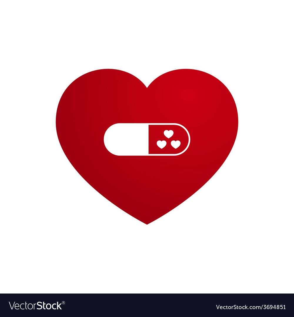 Love heart with capsule medicine vector | Price: 1 Credit (USD $1)