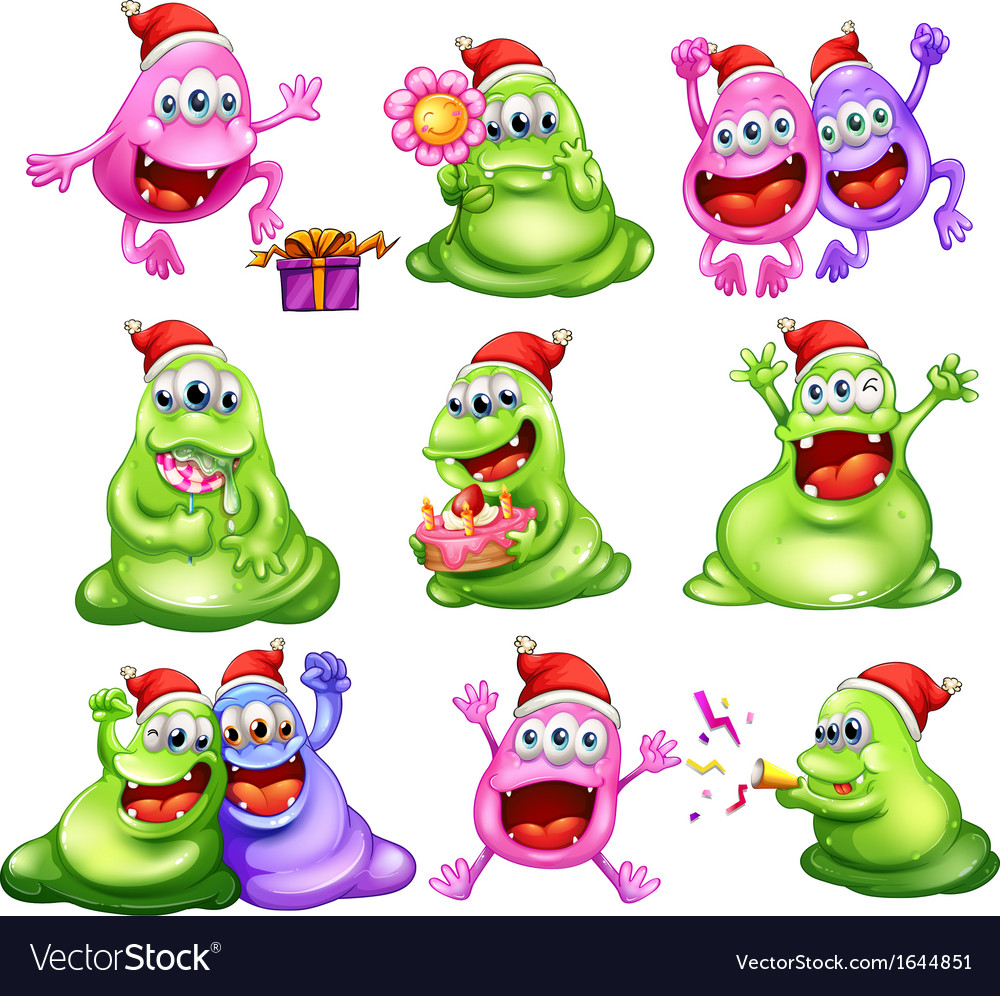 Monsters celebrating christmas vector | Price: 3 Credit (USD $3)