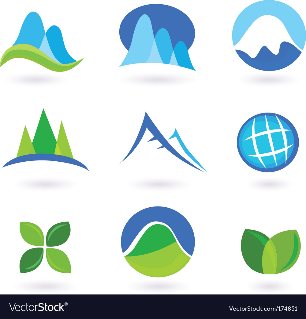 Nature and mountains icon set vector | Price: 1 Credit (USD $1)