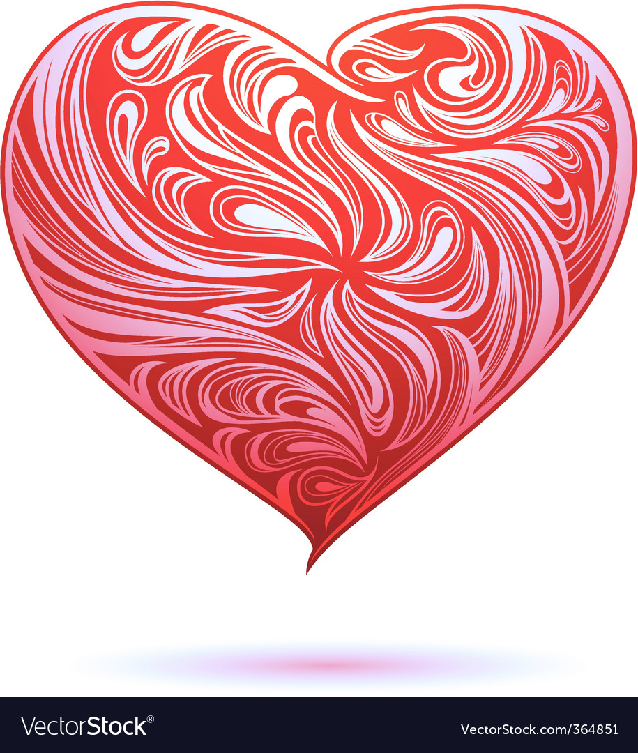 Red heart ornament vector | Price: 1 Credit (USD $1)
