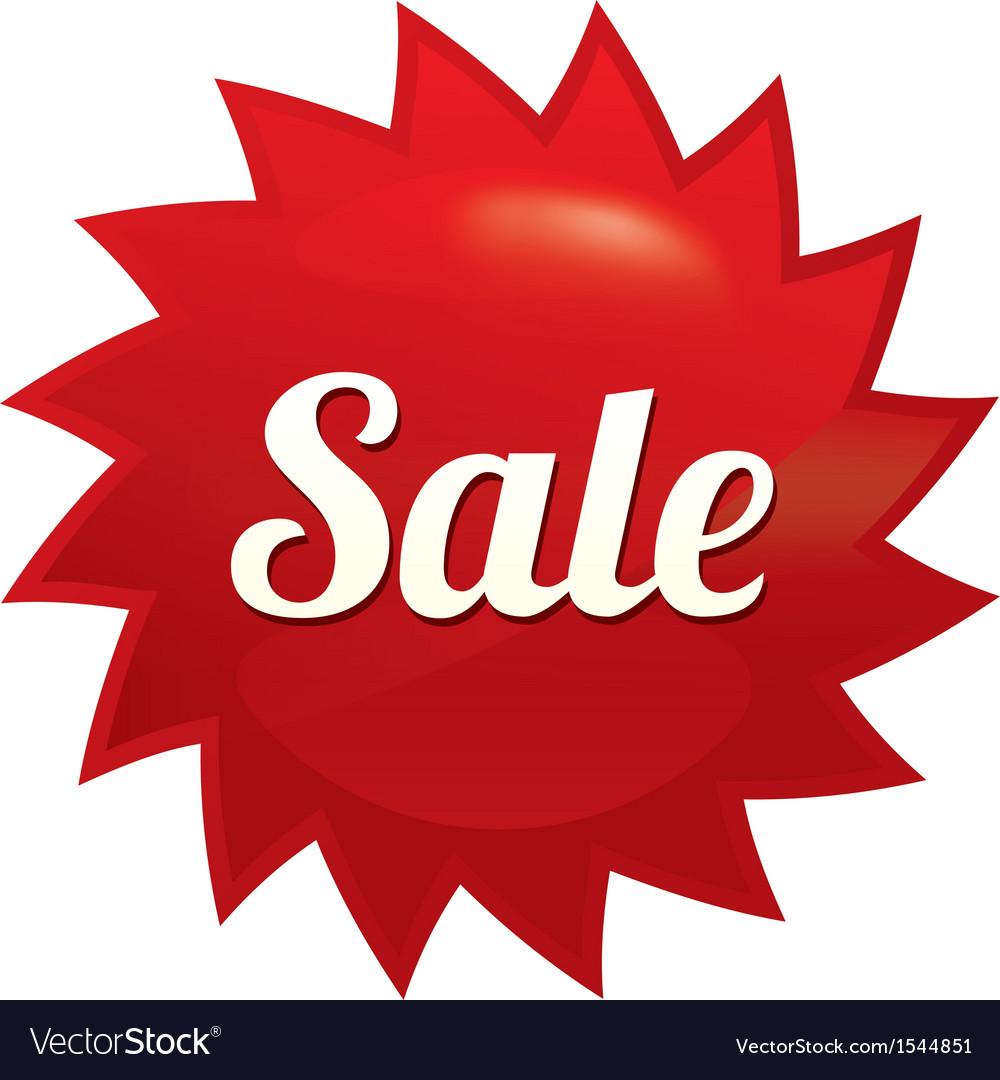 Sale twist tag red round star sticker vector | Price: 1 Credit (USD $1)