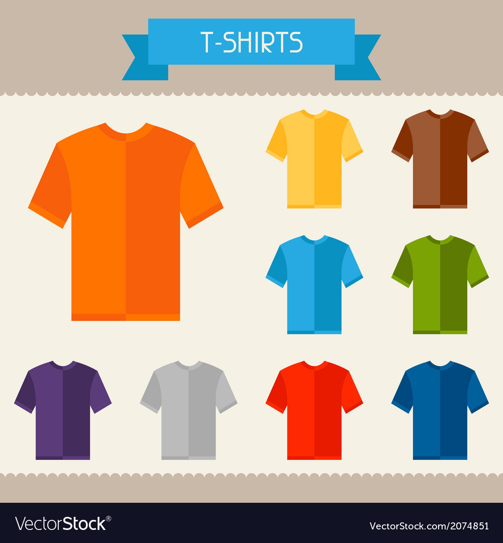 T-shirts colored templates for your design in flat vector | Price: 1 Credit (USD $1)