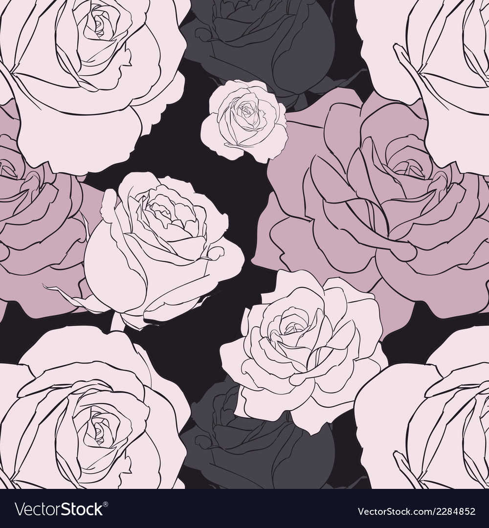 Black gothic rose seamless pattern vector | Price: 1 Credit (USD $1)