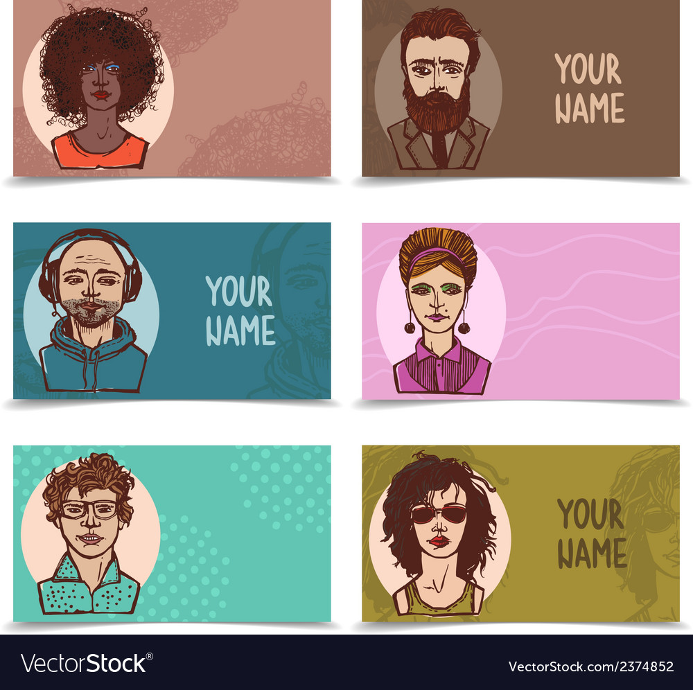 Business cards with sketch faces vector | Price: 1 Credit (USD $1)