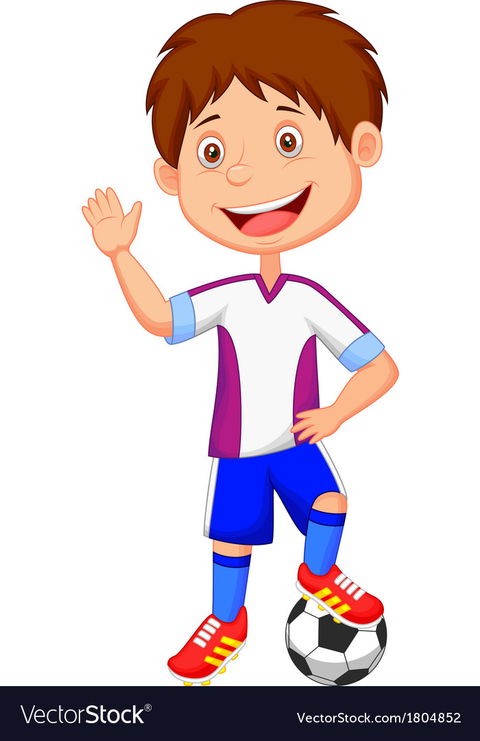 Cartoon kid playing football vector | Price: 1 Credit (USD $1)