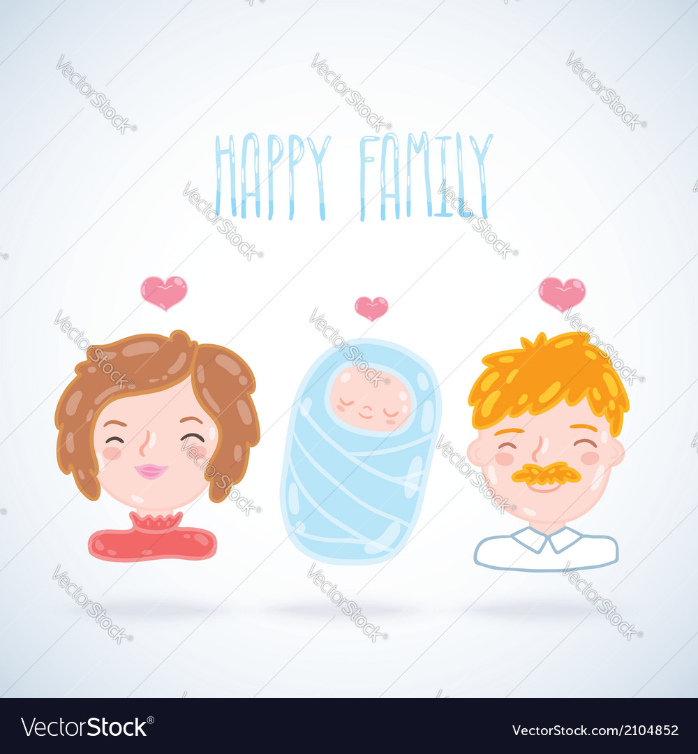 Cartoon young family mother father baby vector | Price: 1 Credit (USD $1)