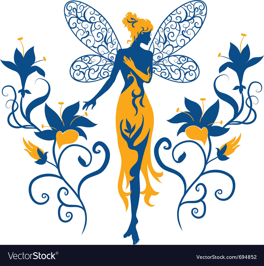 Fairy silhouette vector | Price: 1 Credit (USD $1)
