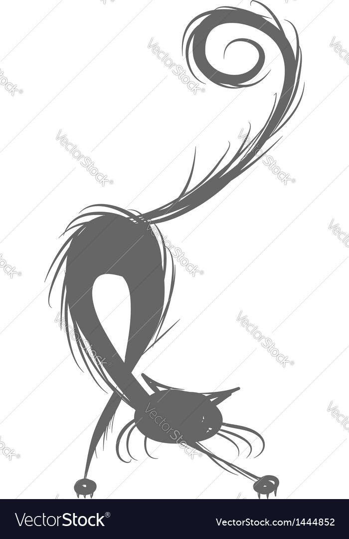 Fluffy cat silhouette for your design vector | Price: 1 Credit (USD $1)