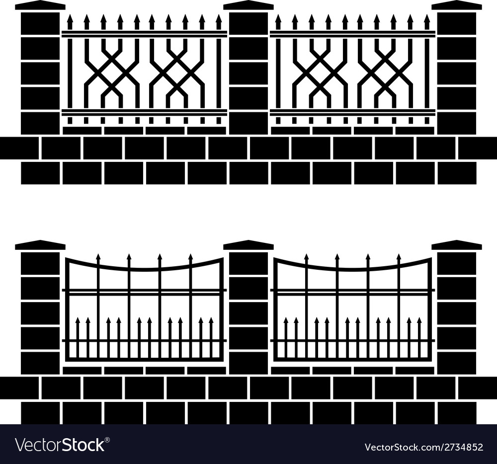 Metal ornate fence black icons vector | Price: 1 Credit (USD $1)