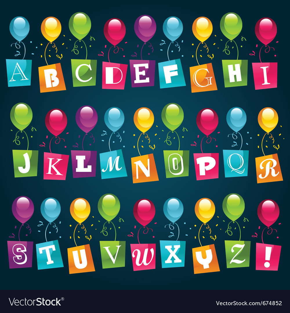 Party alphabet with balloons vector | Price: 1 Credit (USD $1)