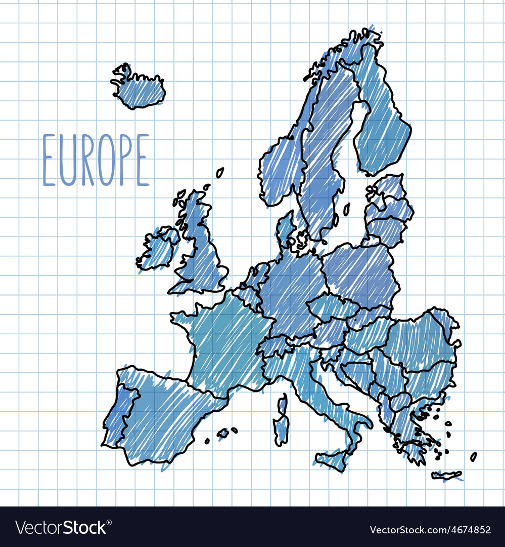 Pen hand drawn europe map on paper vector | Price: 1 Credit (USD $1)