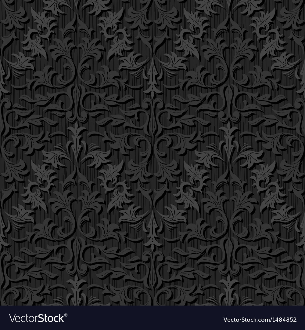 Seamless black silk wallpaper pattern vector | Price: 1 Credit (USD $1)
