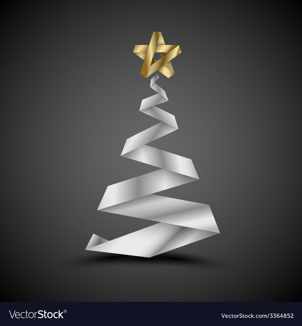 Simple christmas tree made from metalic stripe - vector | Price: 1 Credit (USD $1)