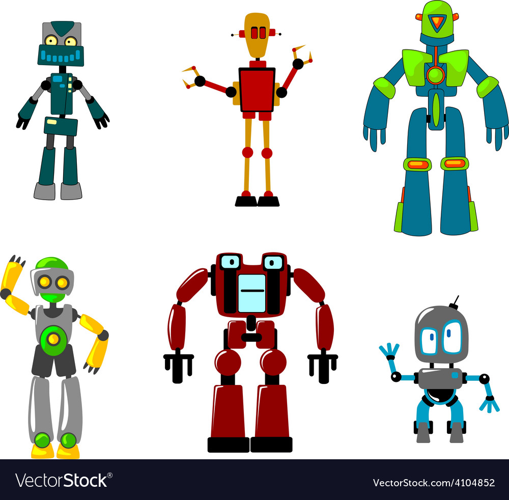 Six colorful cartoon robots isolated on white vector | Price: 1 Credit (USD $1)