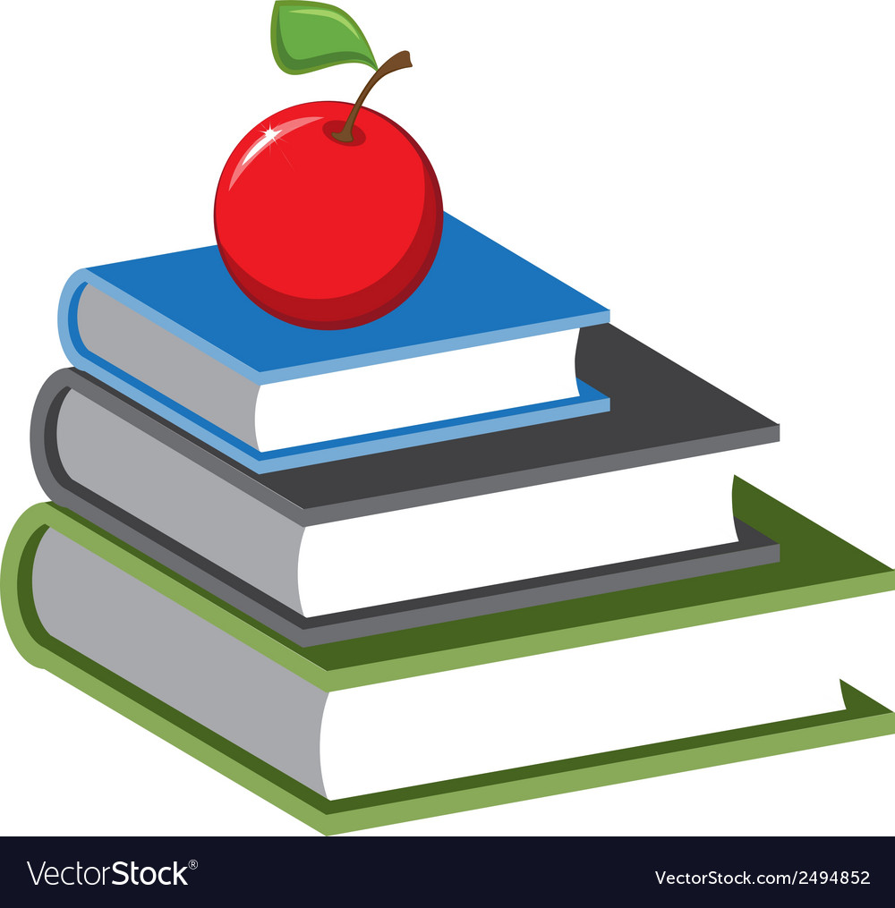Stack of books and an apple cartoon vector | Price: 1 Credit (USD $1)