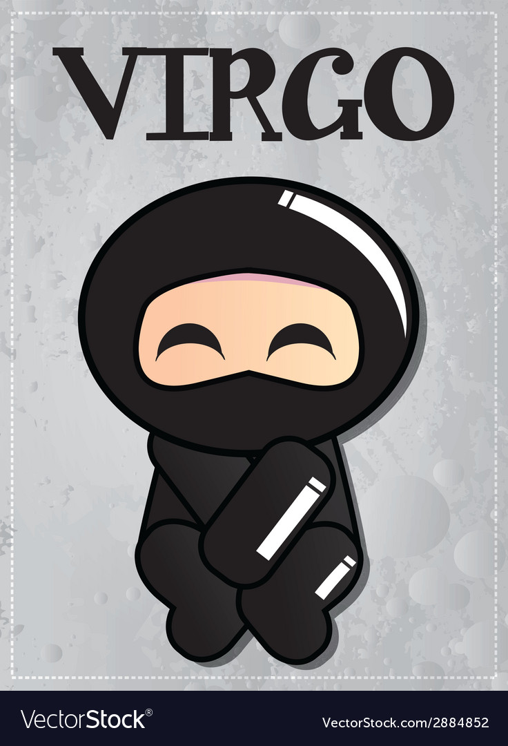 Zodiac sign virgo with cute black ninja character vector | Price: 1 Credit (USD $1)