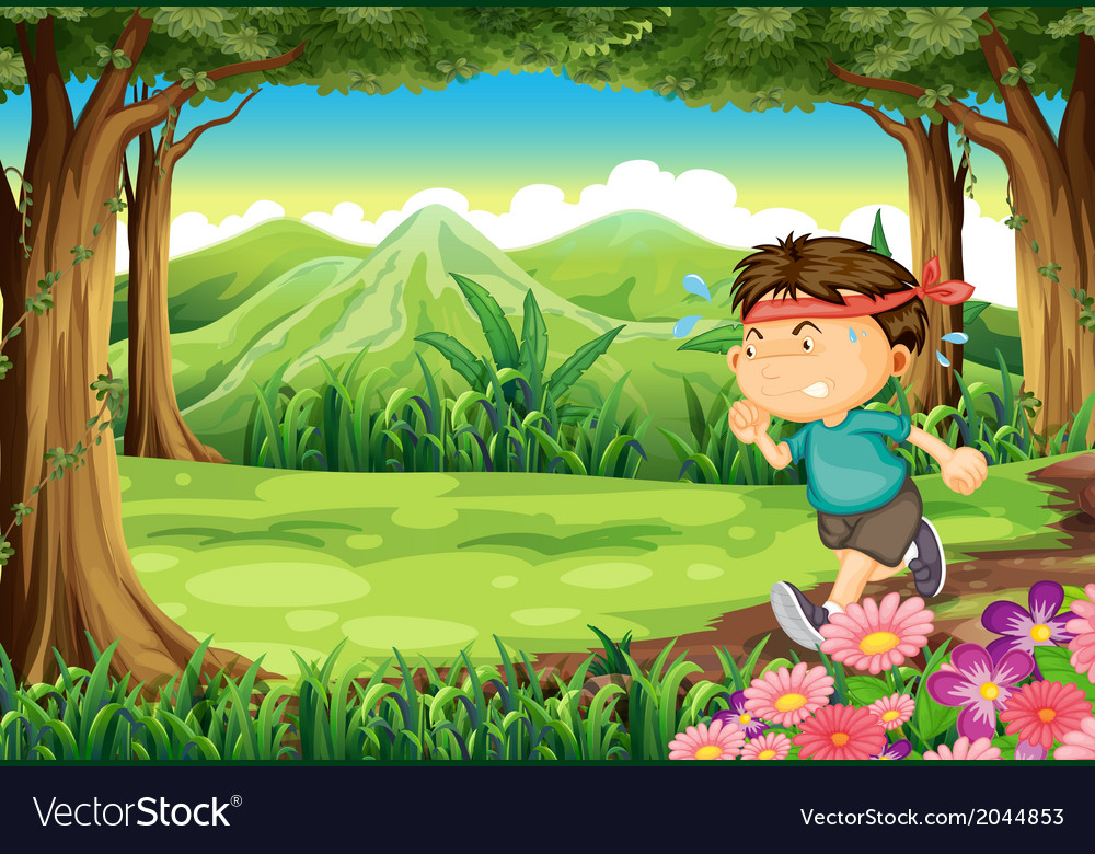 A boy jogging in the middle of the forest vector | Price: 3 Credit (USD $3)
