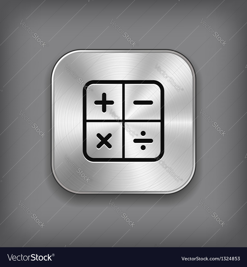 Calculator icon - metal app button vector | Price: 1 Credit (USD $1)