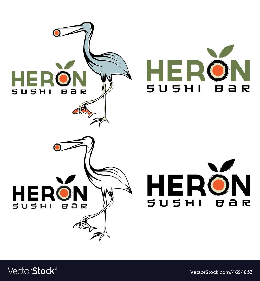 Heron sushi bar design template vector | Price: 1 Credit (USD $1)