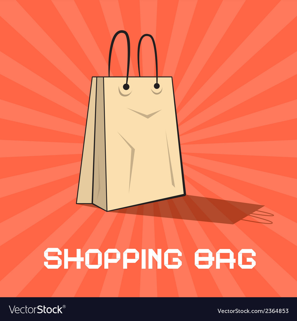 Paper shopping bag on retro red background vector | Price: 1 Credit (USD $1)