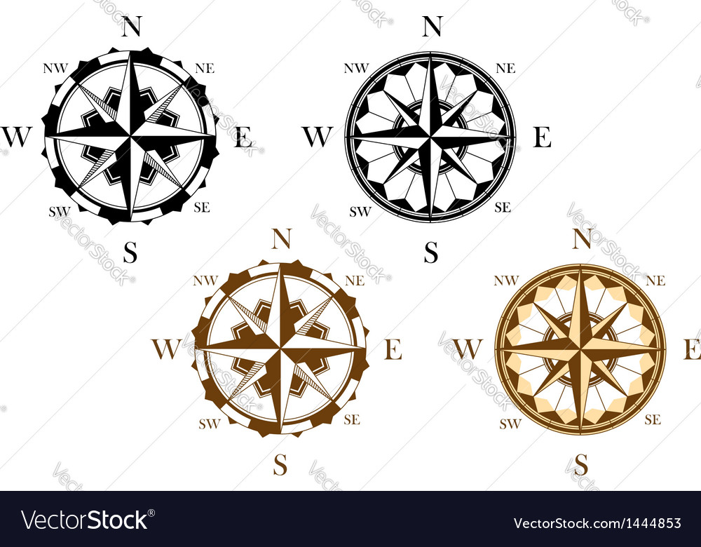 Set of antique compasses vector | Price: 1 Credit (USD $1)
