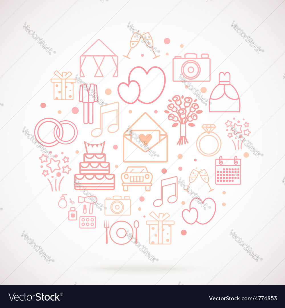 Set of wedding icons grouped in circle vector | Price: 1 Credit (USD $1)