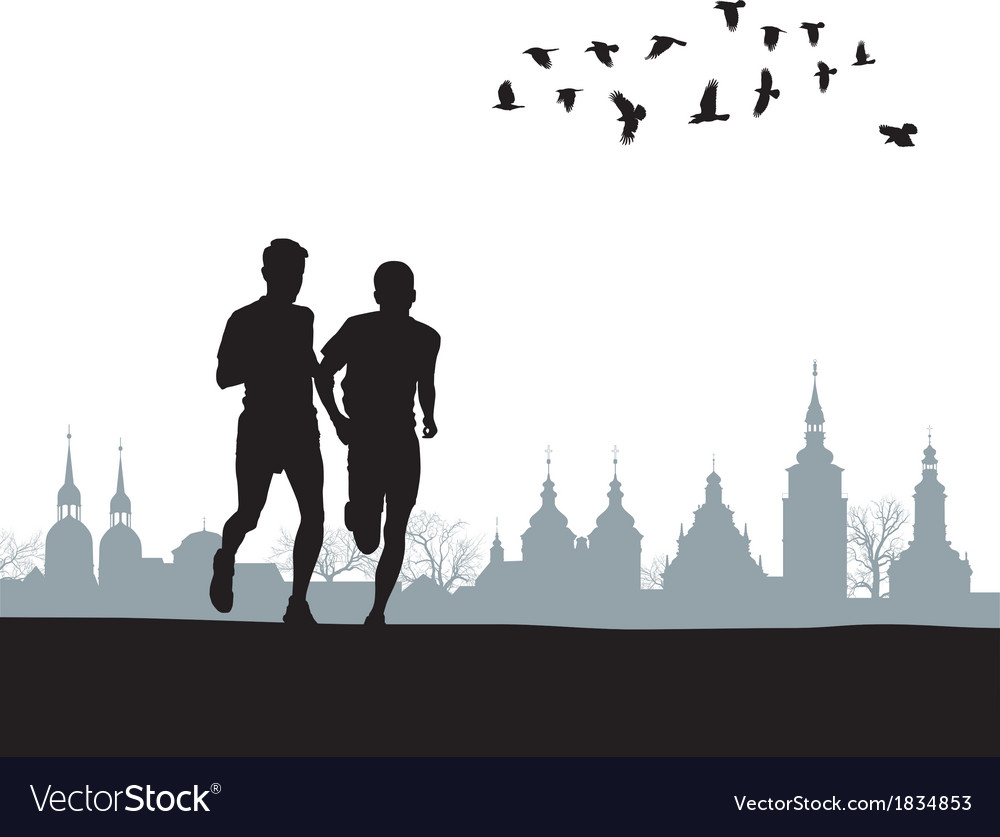 Two runners on the horizon vector | Price: 1 Credit (USD $1)