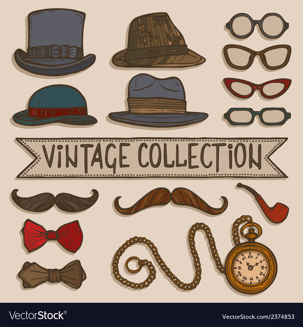 Vintage hats and glasses set vector | Price: 1 Credit (USD $1)