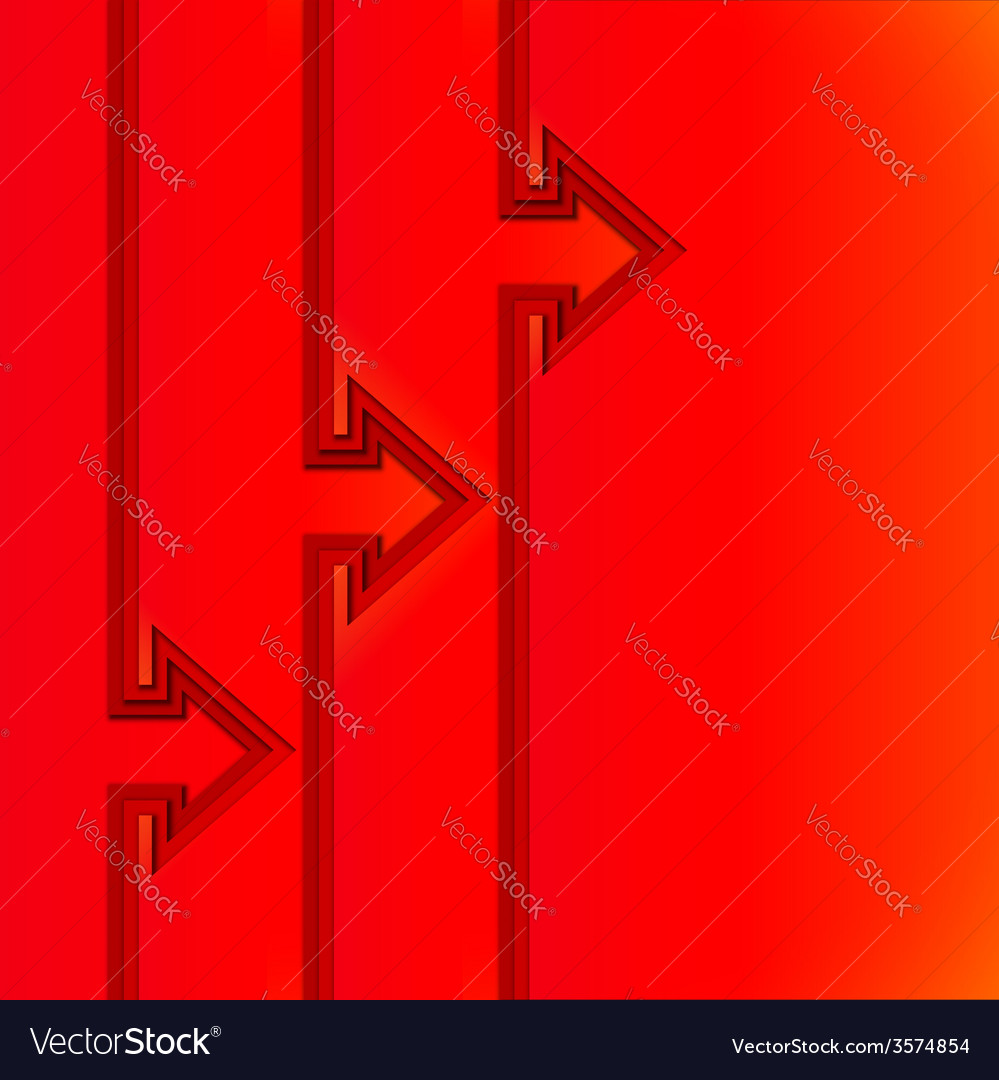 Colorful rising arrows with red cut paper layers vector | Price: 1 Credit (USD $1)