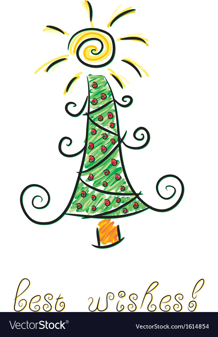 Doodle christmas tree vector | Price: 1 Credit (USD $1)
