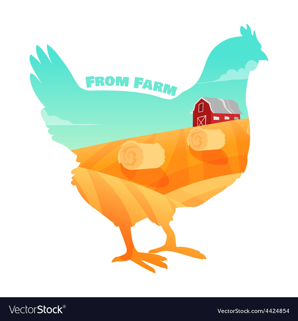 Hen with farm background inside concept of fresh vector | Price: 3 Credit (USD $3)
