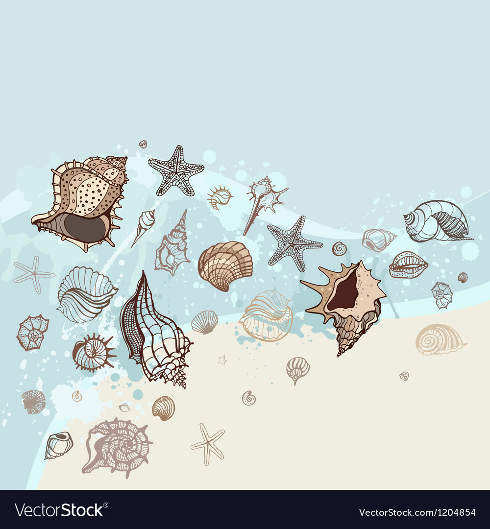 Sea background hand drawn vector | Price: 1 Credit (USD $1)