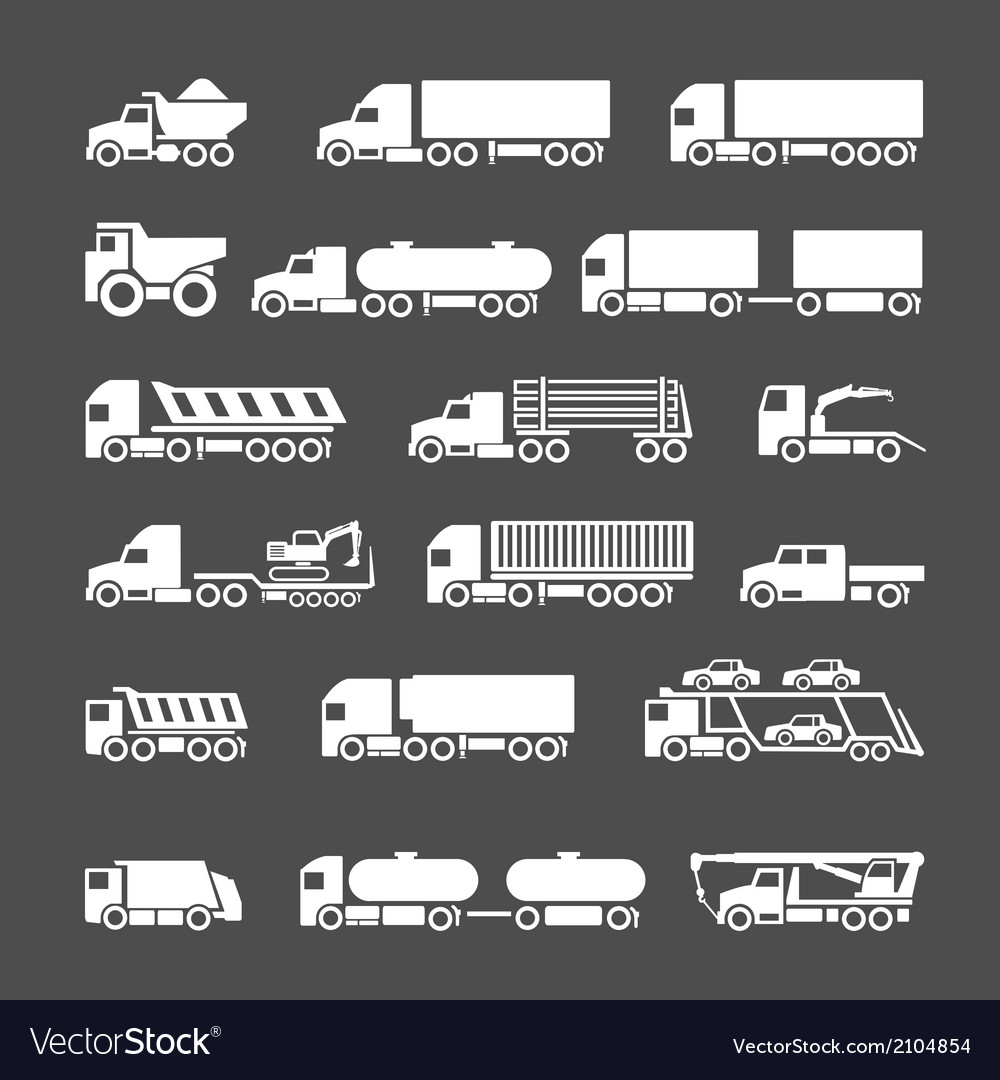 Set icons of trucks trailers and vehicles vector | Price: 1 Credit (USD $1)