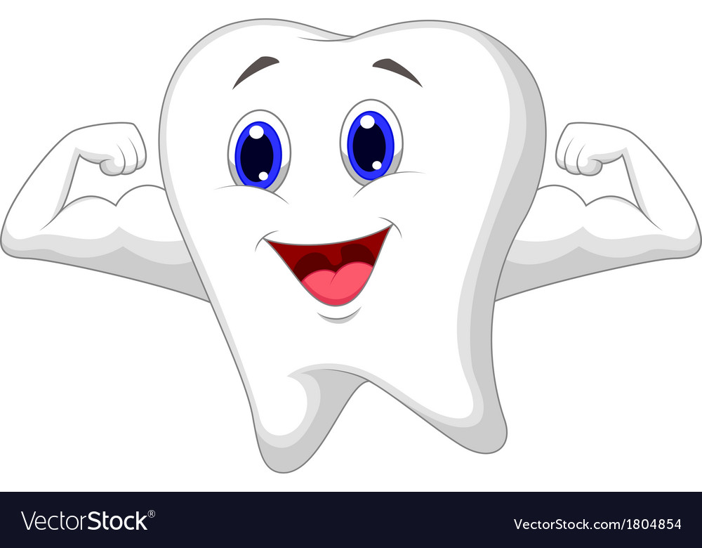 Strong tooth cartoon vector | Price: 1 Credit (USD $1)