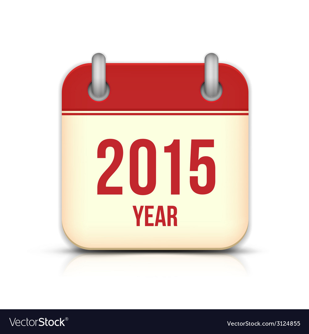 2015 year calendar app icon with reflection vector | Price: 1 Credit (USD $1)