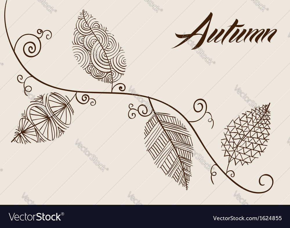 Autumn text with vintage leaves curly branch vector | Price: 1 Credit (USD $1)