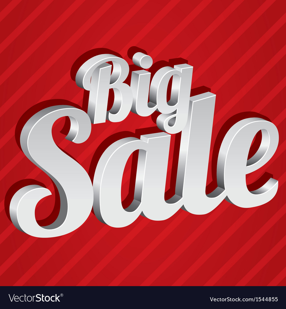 Big sale tag  silver 3d sticker icon vector | Price: 1 Credit (USD $1)