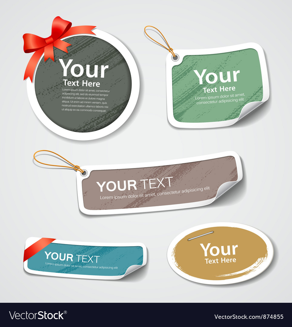 Colorful label and tag collection paper design vector | Price: 1 Credit (USD $1)