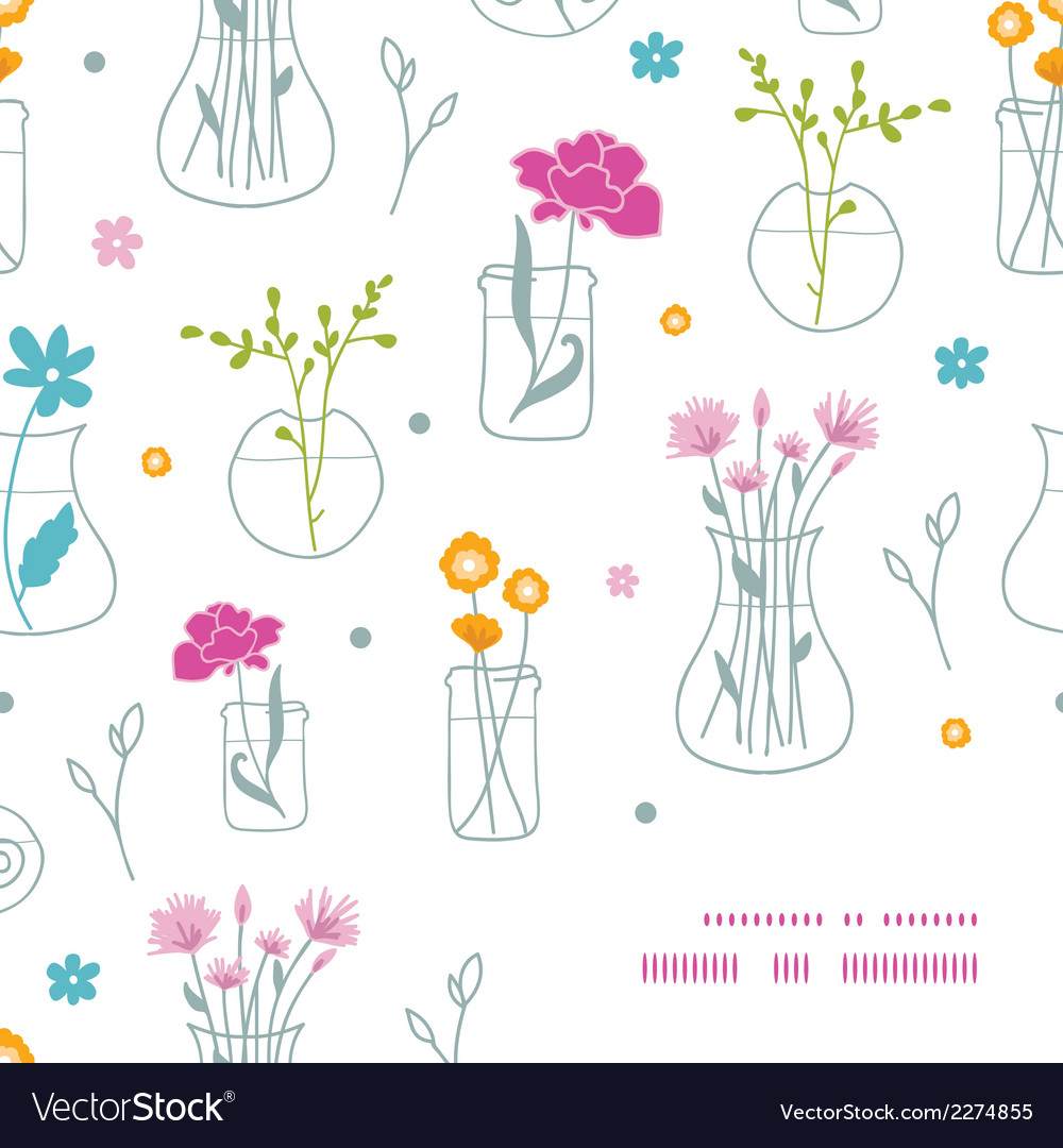 Fresh flowers in vases frame corner pattern vector | Price: 1 Credit (USD $1)