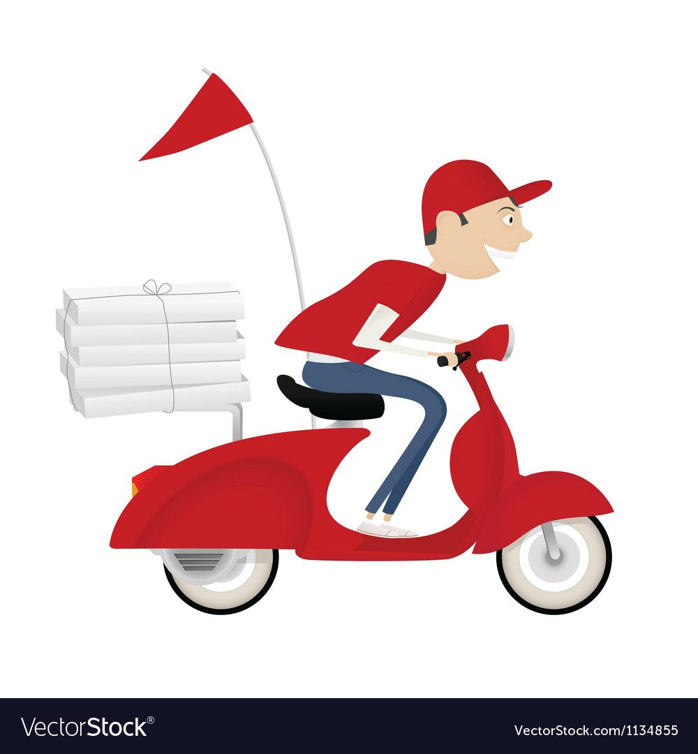 Funny pizza delivery boy riding red motor bike vector | Price: 3 Credit (USD $3)