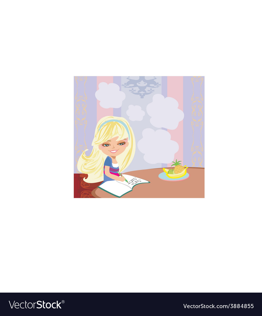 Girl doing homework vector | Price: 1 Credit (USD $1)