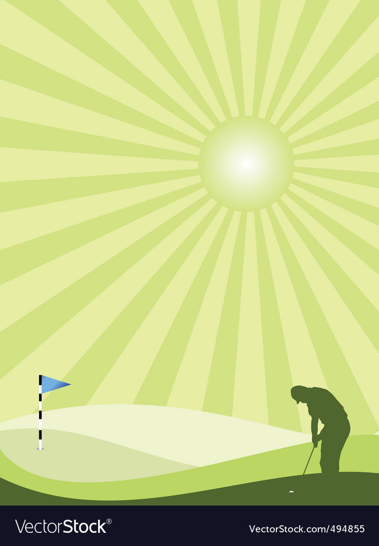 Golfer silhouette in countryside portrait vector | Price: 1 Credit (USD $1)