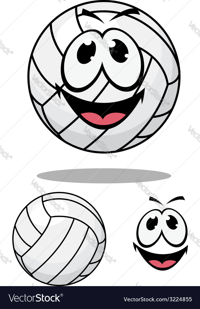 Happy cartoon volleyball vector | Price: 1 Credit (USD $1)