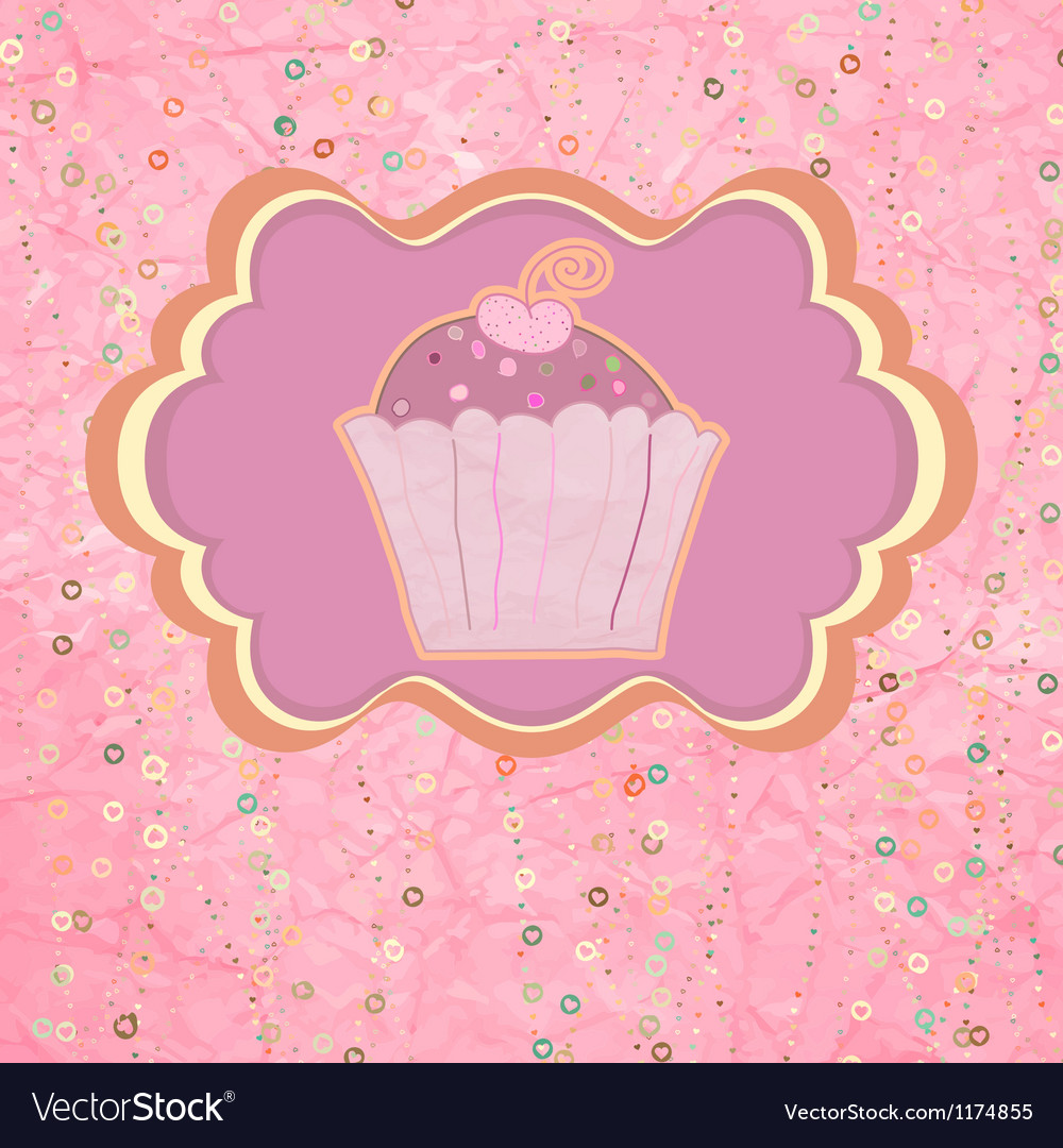 Label with cupcake on pink with polka dots eps 8 vector | Price: 1 Credit (USD $1)
