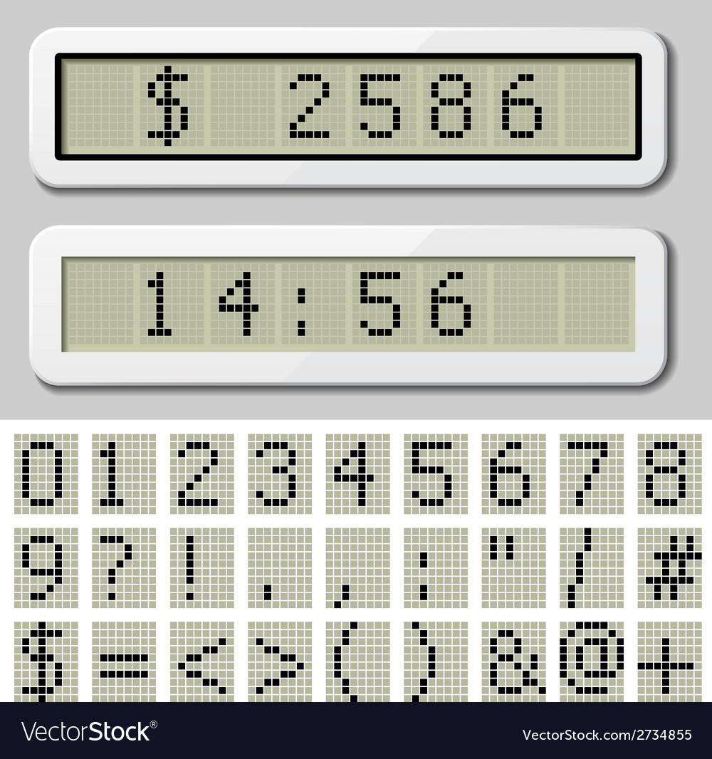 Lcd display pixel font - number symbol characters vector | Price: 1 Credit (USD $1)