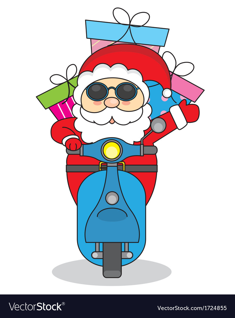 Santa claus handing out gifts on motorcycle vector | Price: 1 Credit (USD $1)