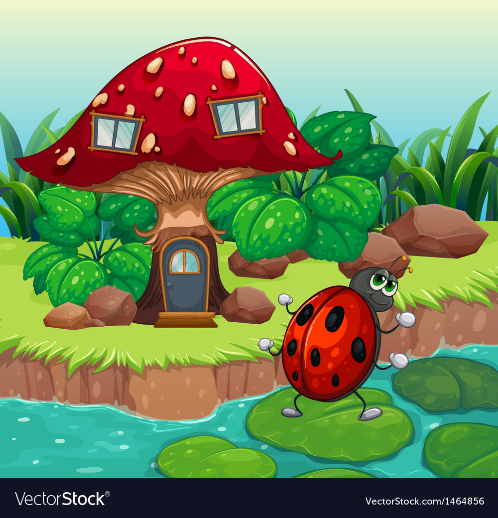 A bug dancing near the mushroom house vector | Price: 1 Credit (USD $1)
