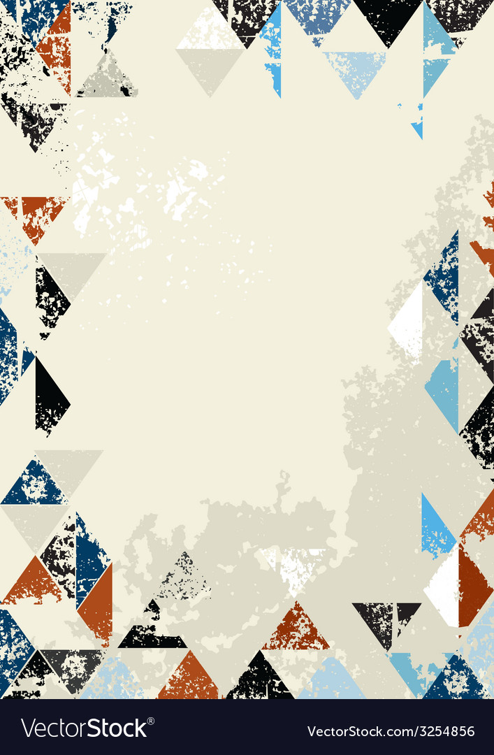 Bordered background of grunge triangles vector | Price: 1 Credit (USD $1)