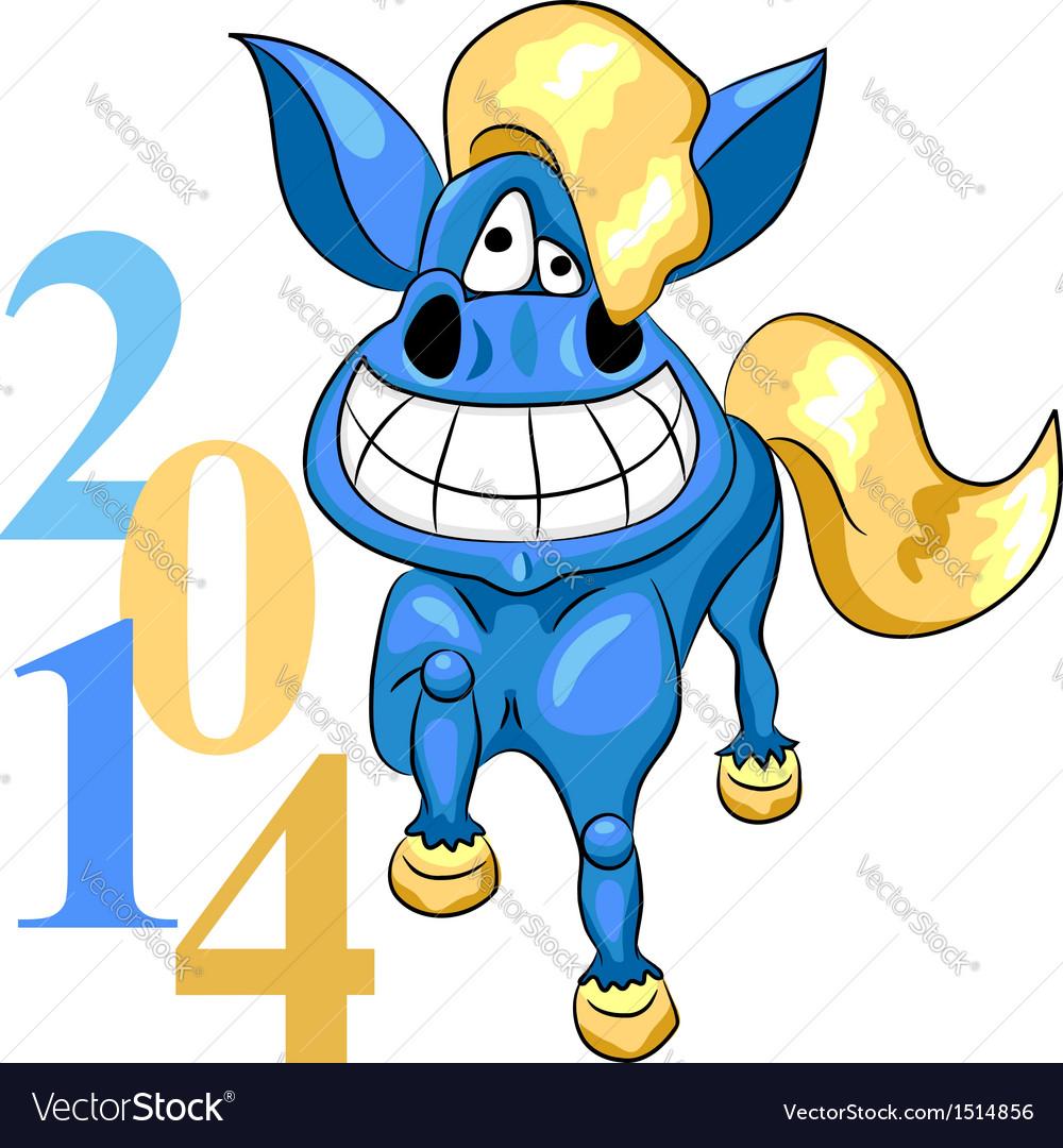 Cartoon blue horse vector | Price: 1 Credit (USD $1)